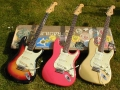 61_Sunburst_62_Fiesta_Red_and_a_64_Shoreline_Gold_Fender_Stratocasters