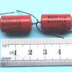 Russian PIO Paper-in-Oil Tone Capacitor K40P, 0.022uF (like K40Y-9) MATCHED PAIR
